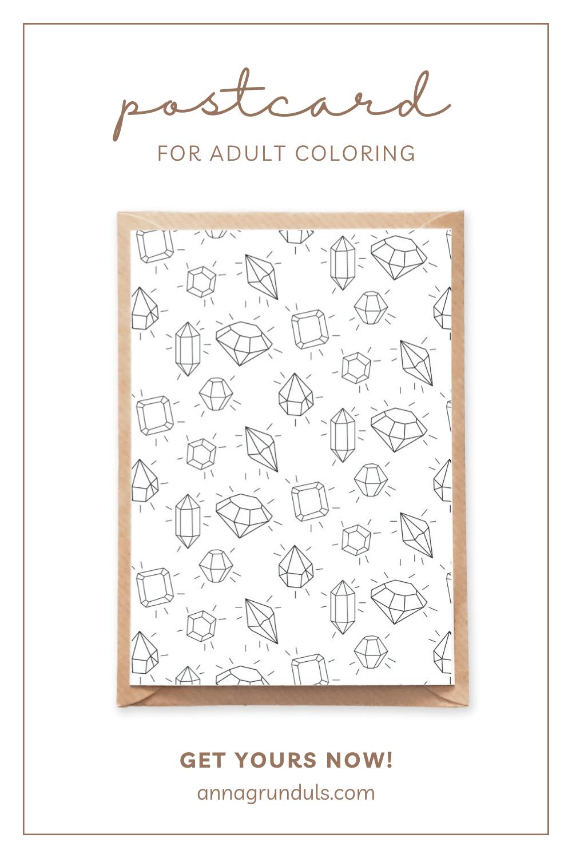 shining gemstones pattern postcard for adult coloring pinterest pin