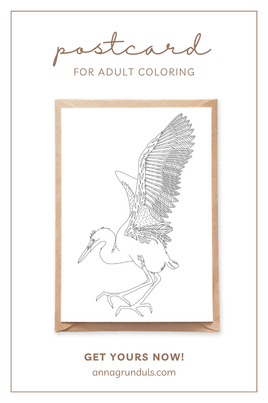 stork bird postcard for adult coloring pinterest pin