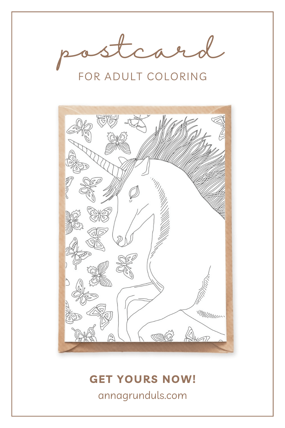 unicorn postcard for adult coloring pinterest pin