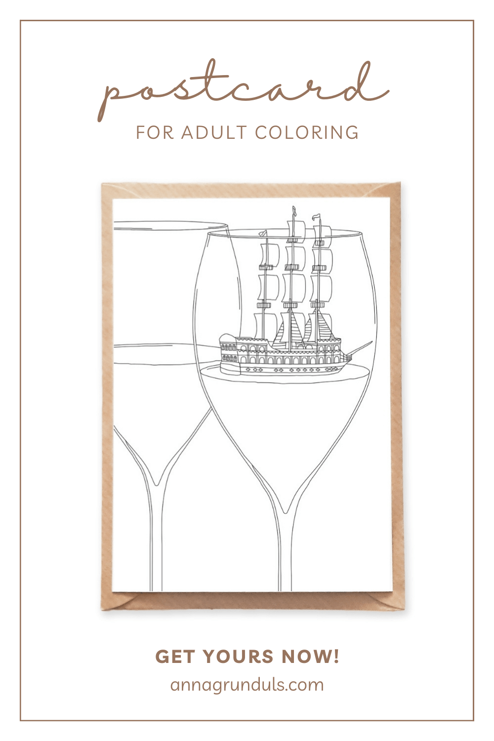 wine glass postcard for adult coloring pinterest pin