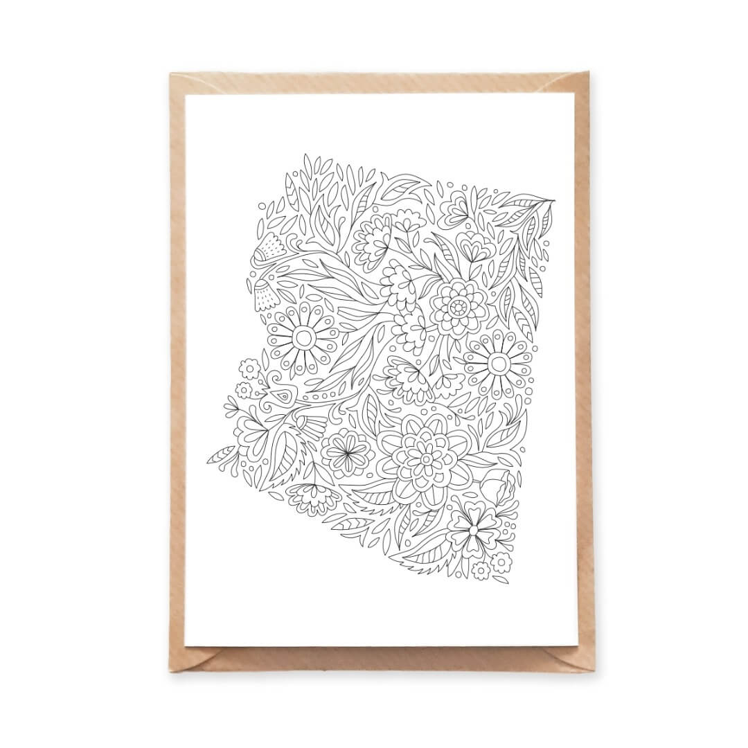 Arizona State Map Postcard Floral Pattern Flowers State Map Coloring Page