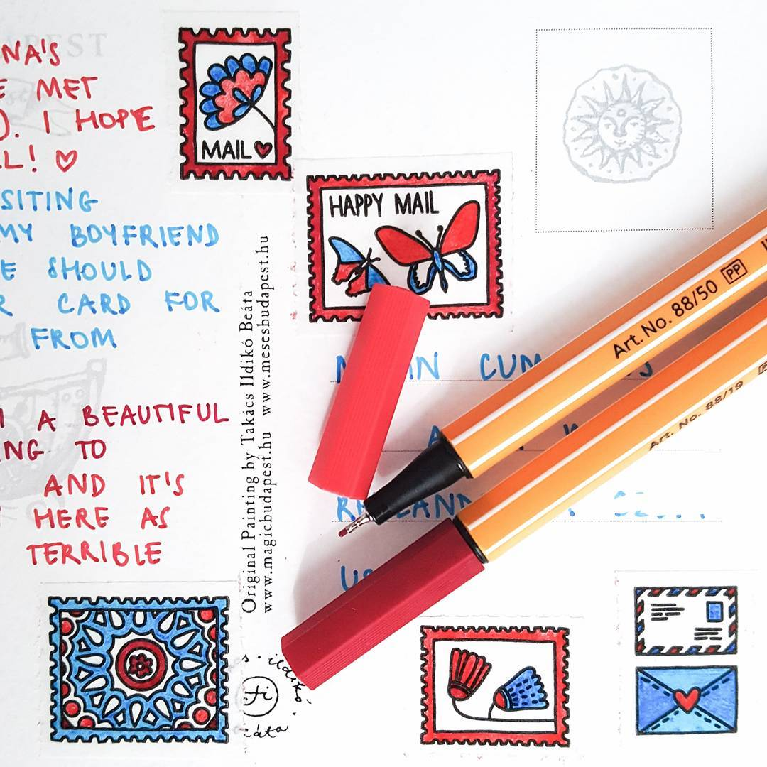 postage coloring page happy mail washi tape