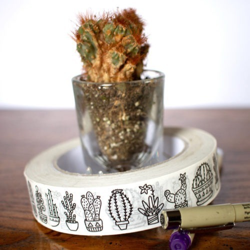 cacti coloring tape cactus washi tape bullet journal deco tape adult coloring pages cacti botanical washi tape pretty doodle washi tape adult coloring tape plants lady tape