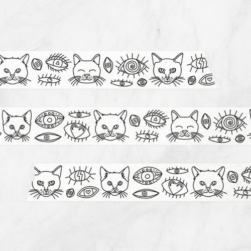 eyes and cats coloring tape - adhesive tape with cats to colors in - adult coloring washi tape