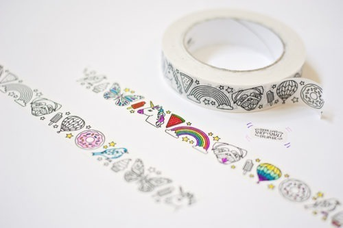 unicorn adult coloring page washi tape adhesive tape bullet journal washi tape to color in coloring tape unicorn tape ice cream pugs kawaii cute design washi tape big roll washi tape crafting