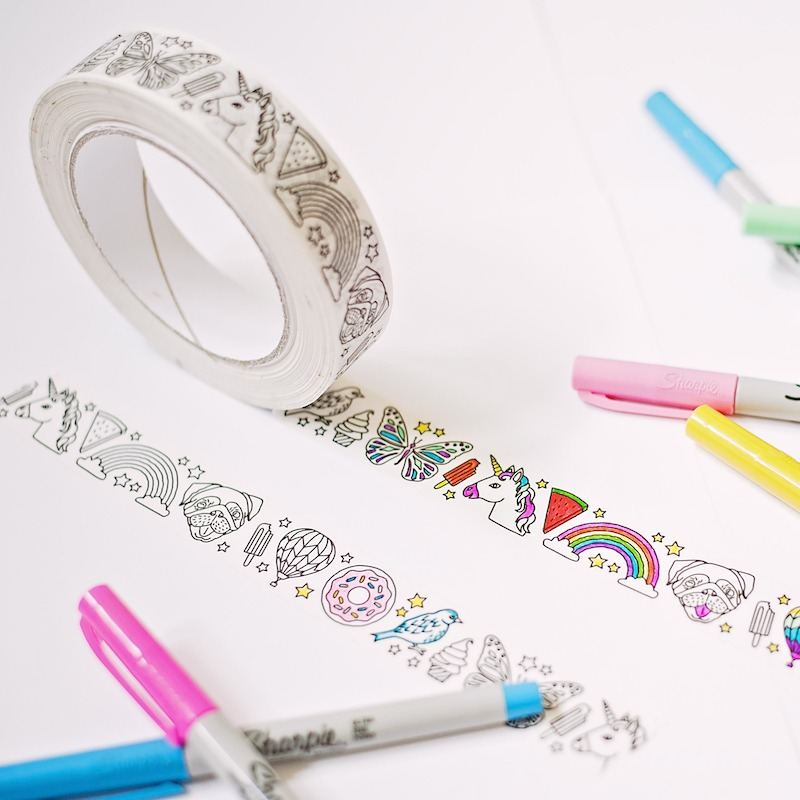 ice cream pugs and unicorn coloring tape for planner ...