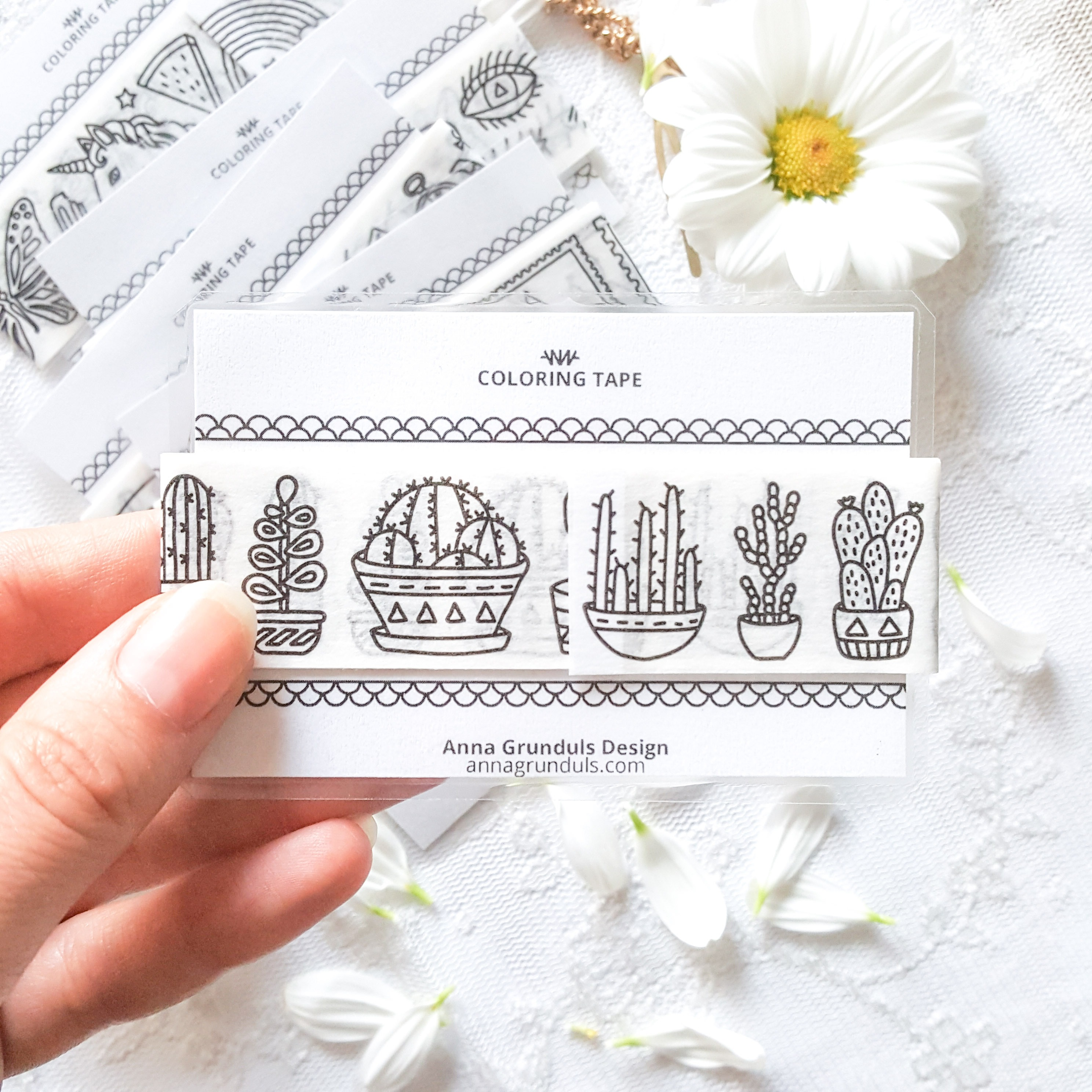 cacti and succulents coloring tape sample card washi tape