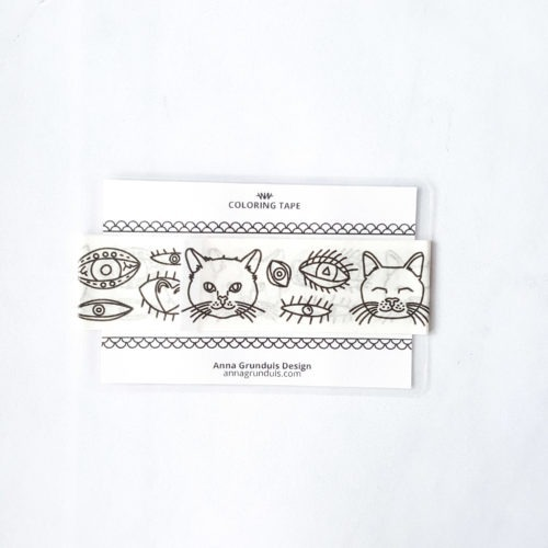 eyes and cats coloring tape - adhesive tape with cats to colors in - adult coloring washi tape sample