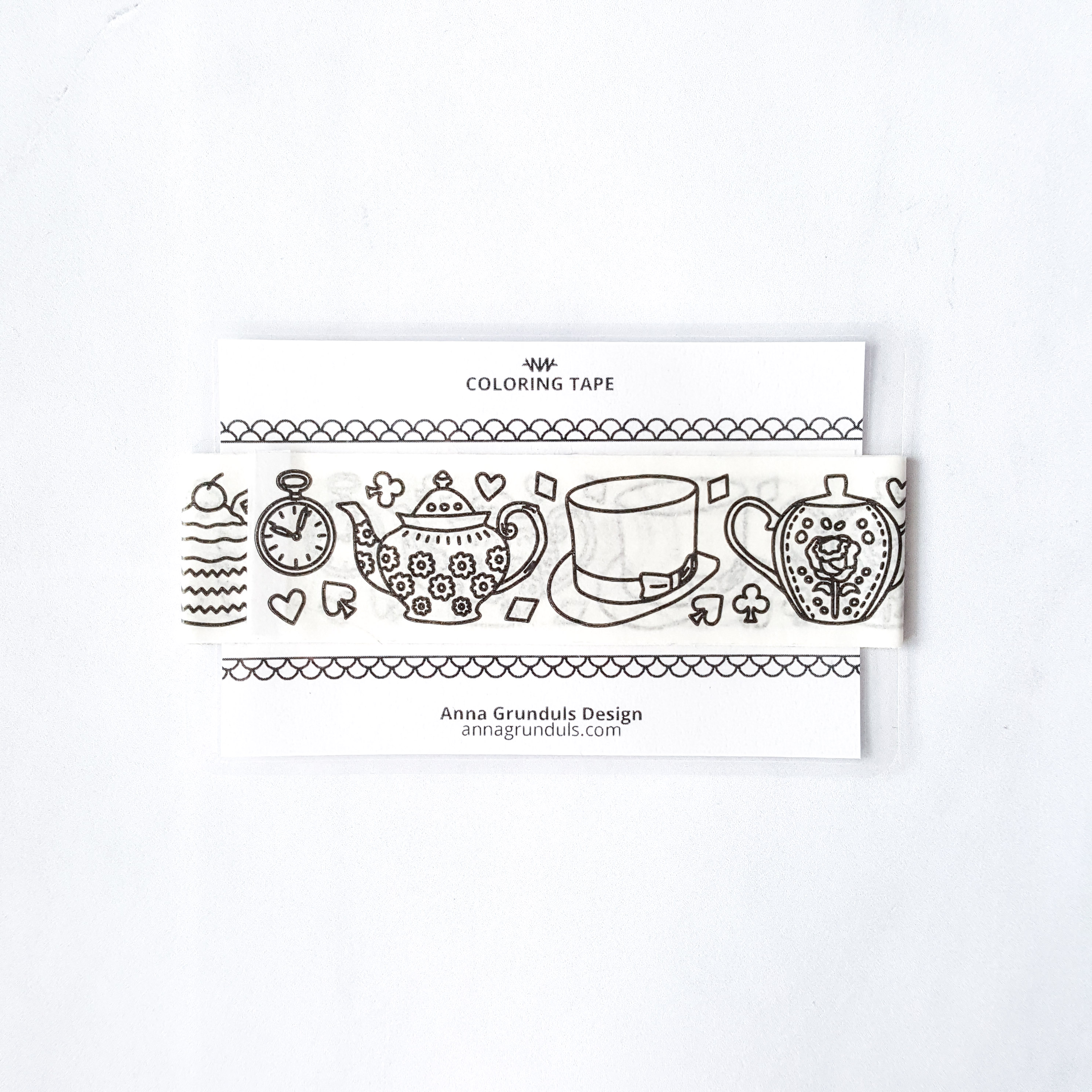 adult coloring tape alice in wonderland teapots rabbits cards adhesive kraft paper washi