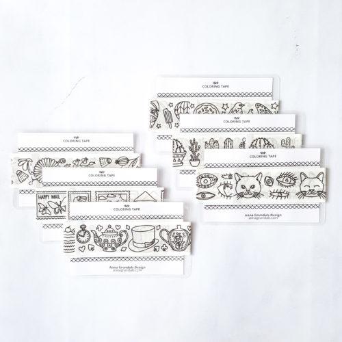 washi tape sampler cards adult coloring adhesive tape