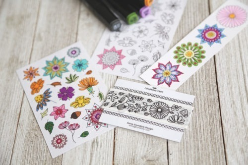 flowers coloring tape adhesive for adult masking tape to color in washi colouring