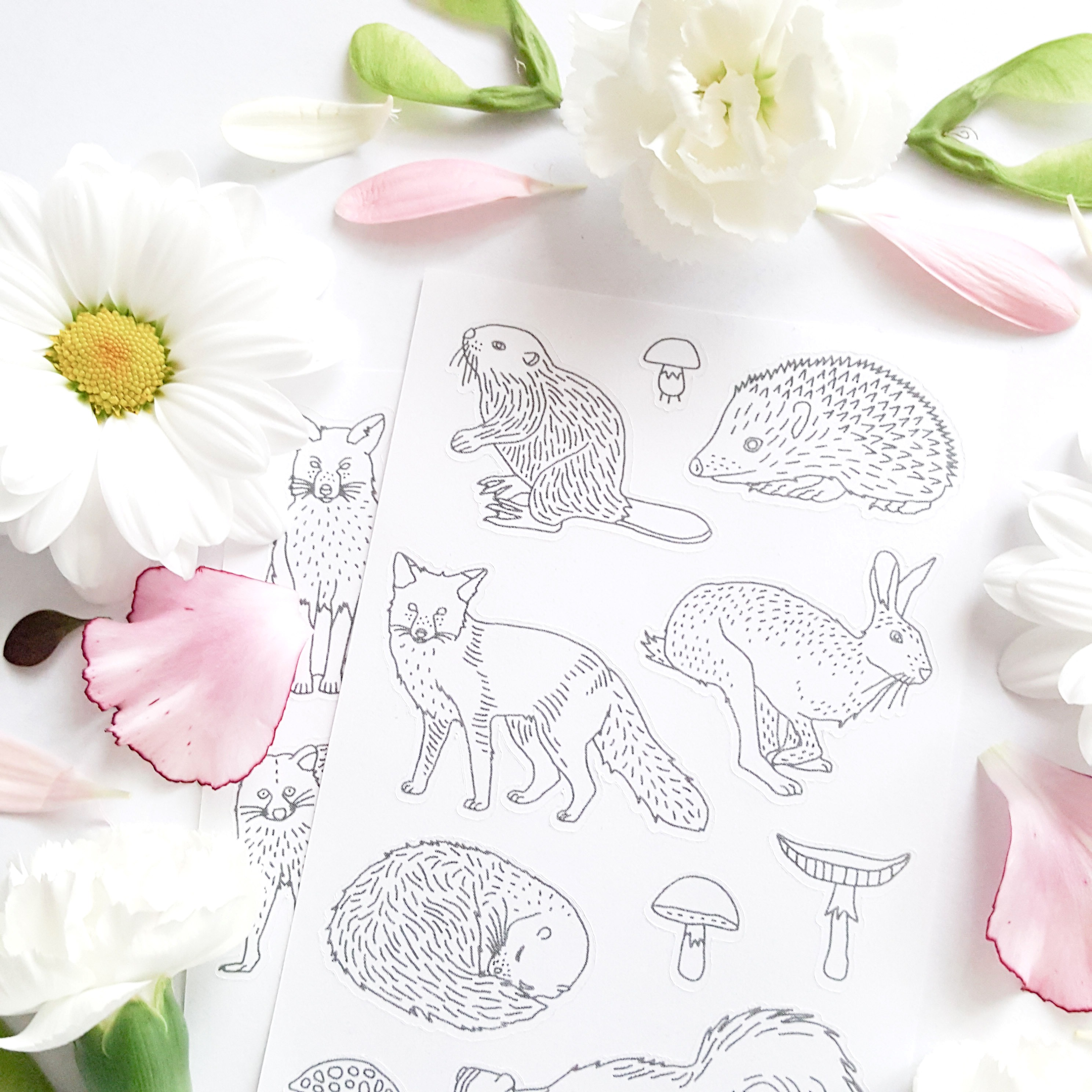 party favors forest forest animals animals decals animal coloring adult coloring page woodland animal animal stickers stickers to color in adult coloring coloring planner planner decals forest coloring woodland party favor