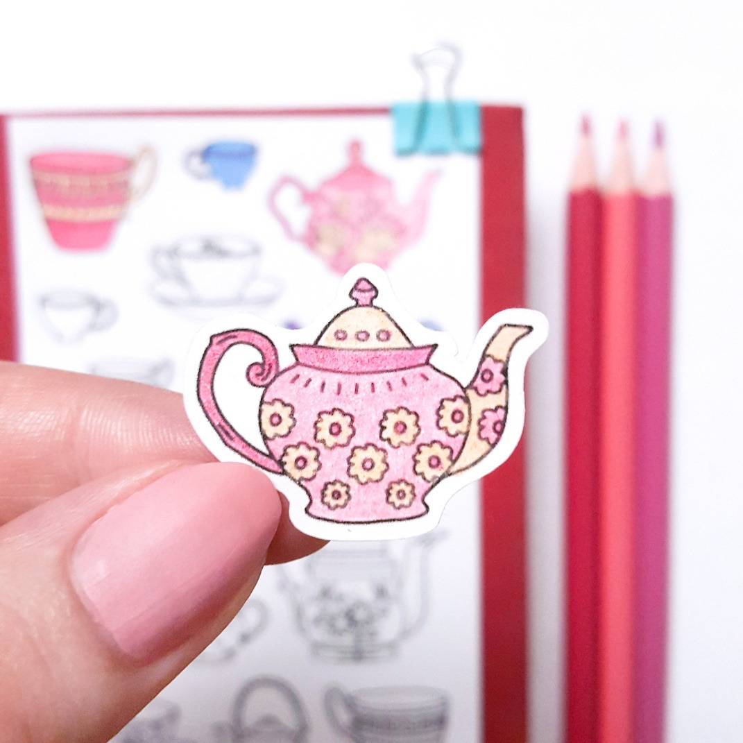 vintage teapot coloring stickers adult coloring page planner stickers