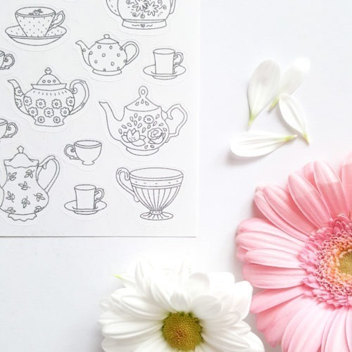 coloring stickers teapots