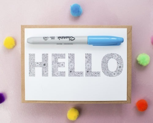 Hello Coloring Postcard Adult Coloring Books Colouring Greeting Card Notecard