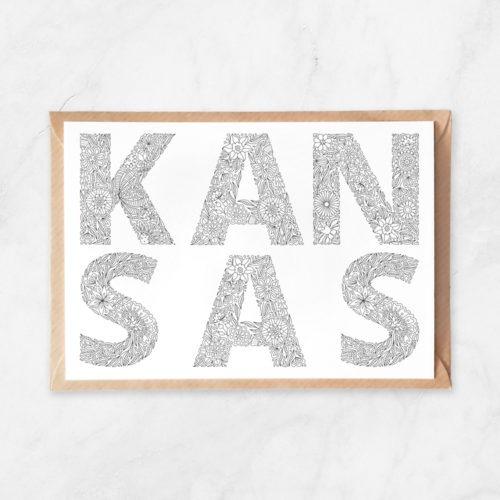 kansas coloring postcard, adult coloring postcard, kansas lettering, kansas state name, kansas state plaque