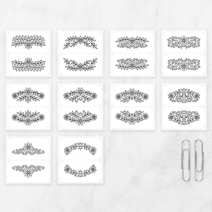 mini ornaments thermal stickers flroal ornament floral frame sickers for bullet journal planner stickers