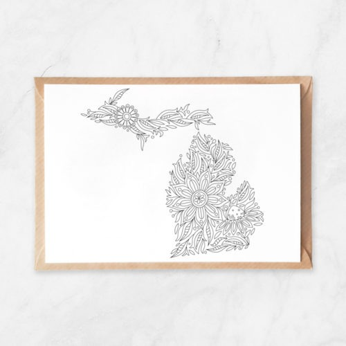 Michigan State Map Coloring Postcard Michigan Coloring Map Postcard Travel Map Flowers MI USA