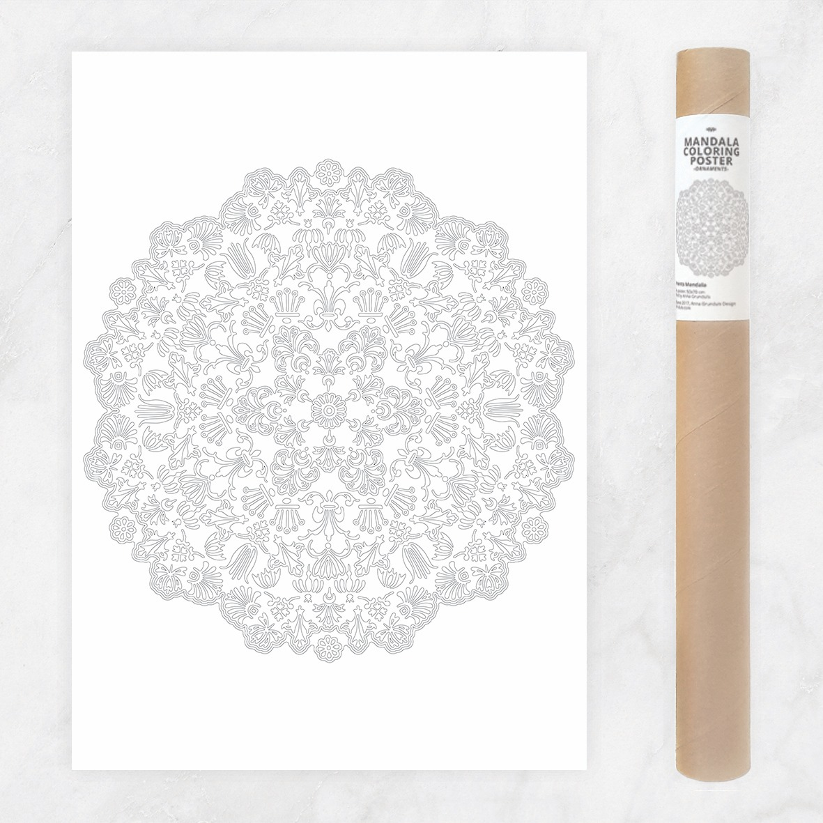 floral ornaments mandala coloring poster to color in diy mandala wall art decoration giant adult coloring page