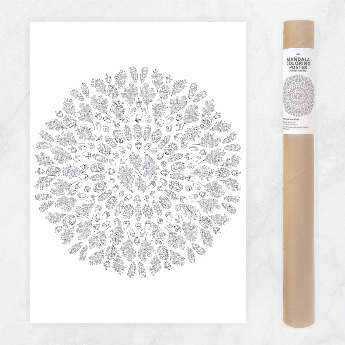 forest nature mandala coloring poster adult coloring page large mandala coloring wall art diy mandala decoration