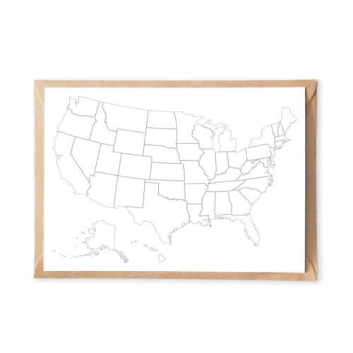 USA coloring map postcard to color in educational map adult coloring postcarossing
