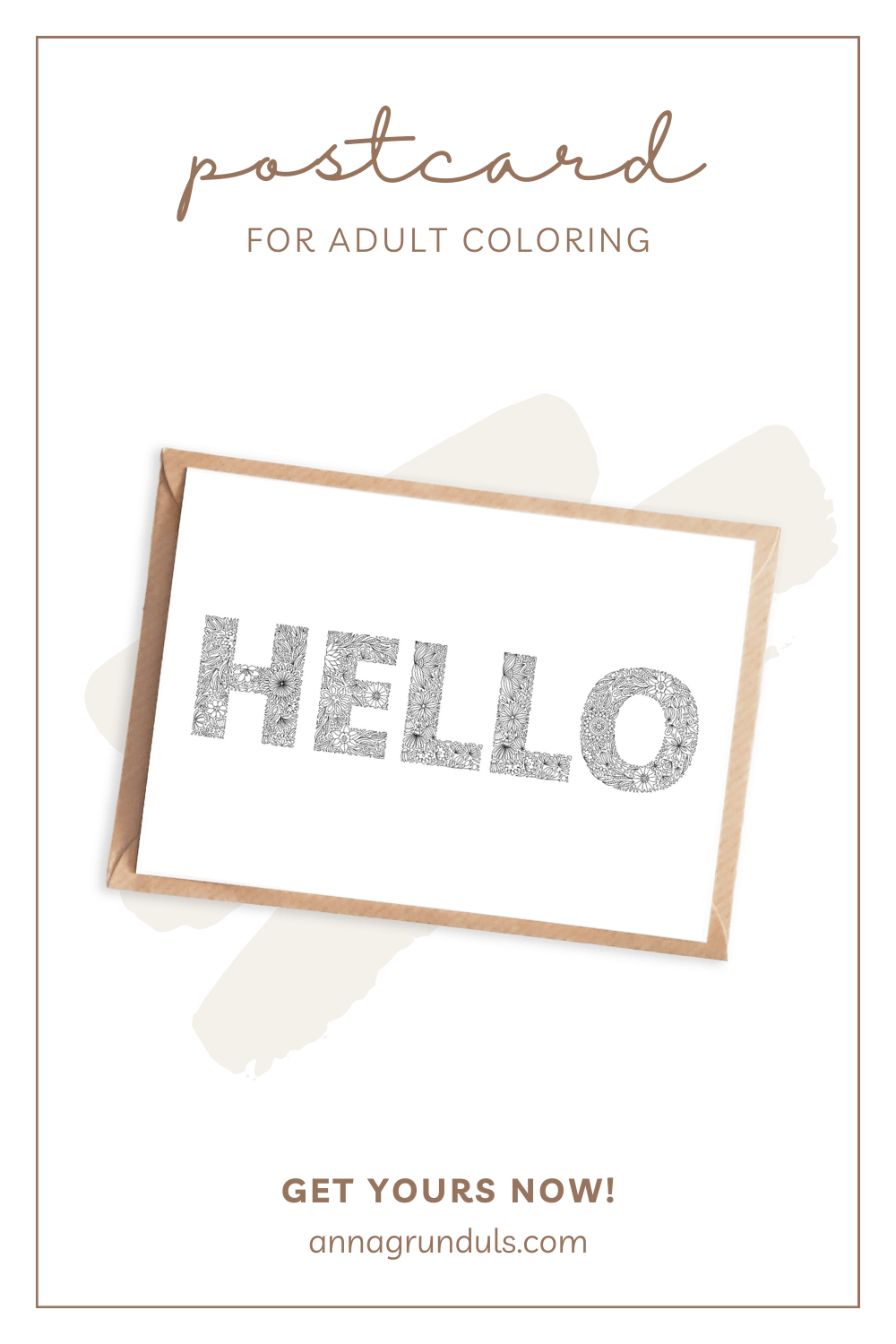 hello postcard for adult coloring pinterest pin