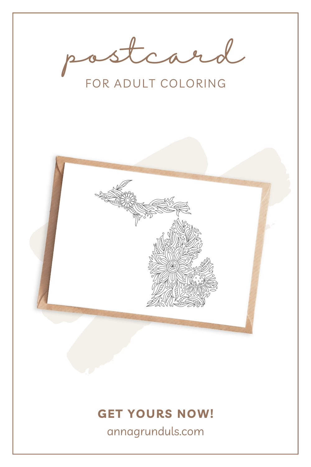 michigan map postcard for adult coloring pinterest pin