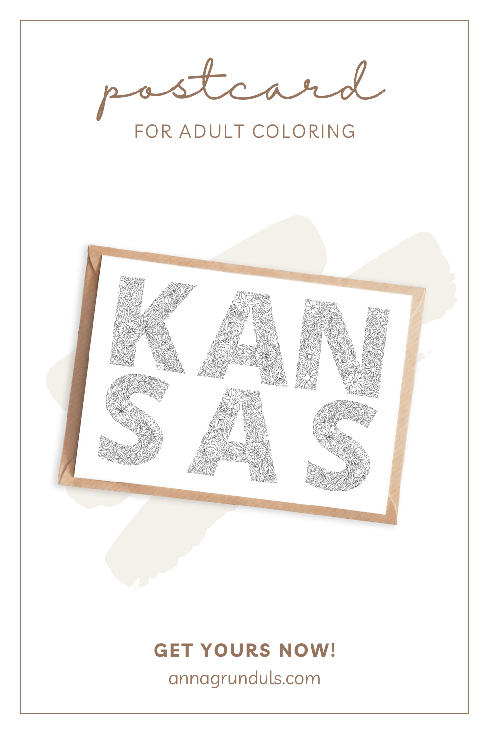 kansas postcard for adult coloring pinterest pin