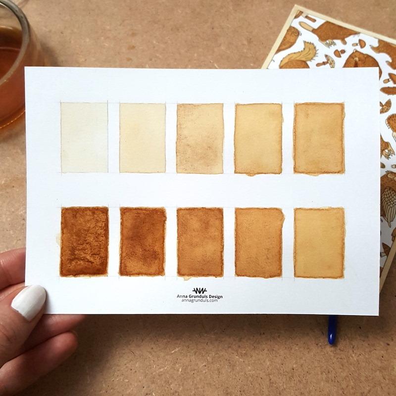 Tea Painting Paint Chip Reference Tea Shades Tea Colors Watercolor Sepia Monochrome Painting Color Palette
