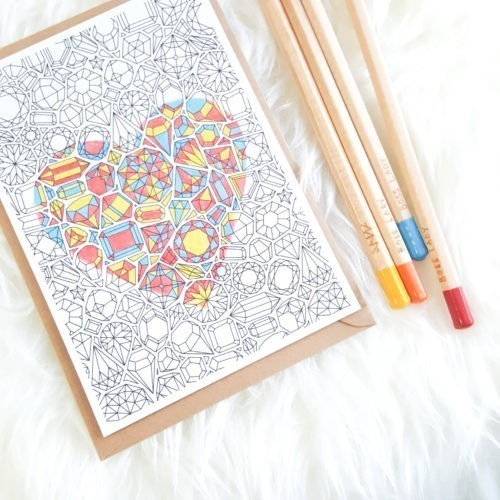 gemstones pattern coloring postcard adult coloring postcards