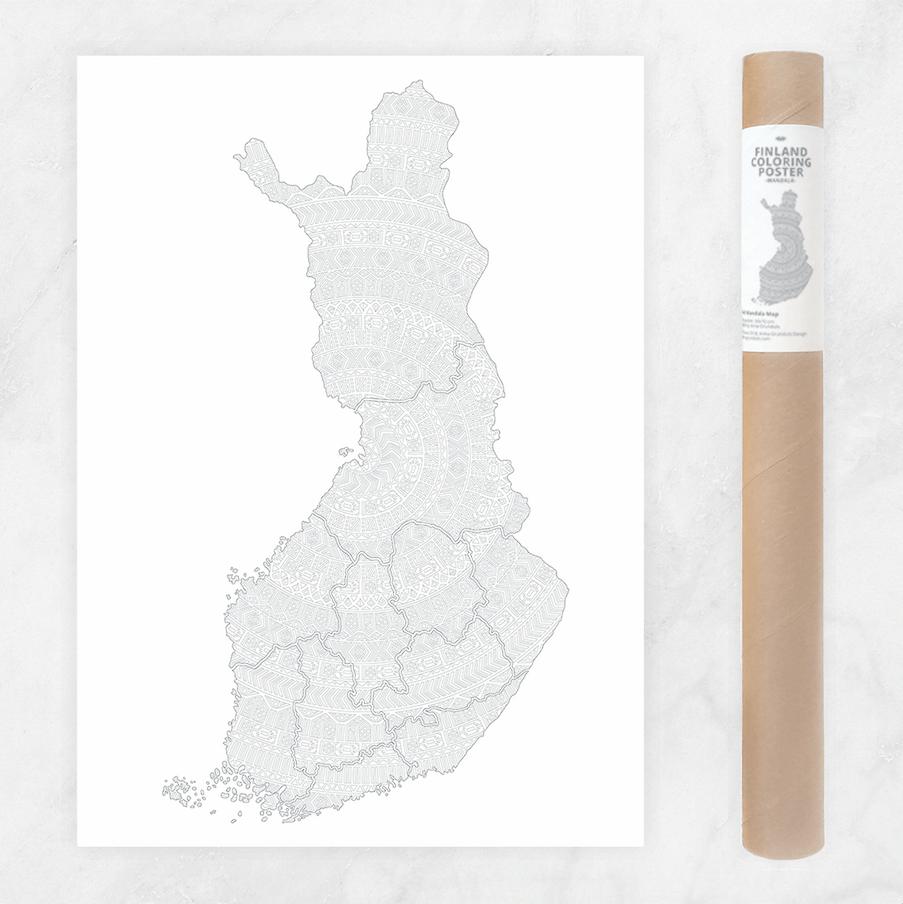 Finland Mandala Map Coloring Poster