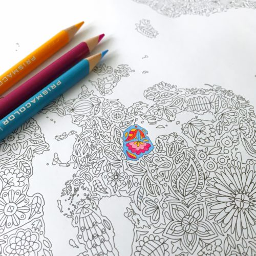 Flowers World Map Adult Coloring Page Large Coloring Poster Giant Travel Map to Color In World Map of the World