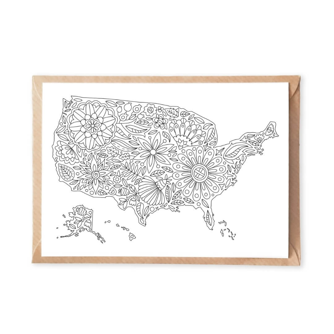 Flowers USA Map Coloring Postcard for Adult Coloring