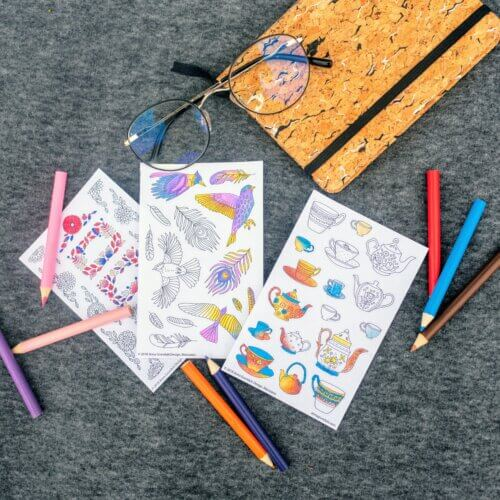 adult coloring paper stickers with flowers
