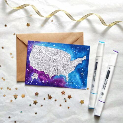 Galaxy Background USA Map Postcard For Adult Coloring