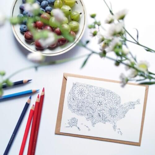 usa map postacrd for adult coloring