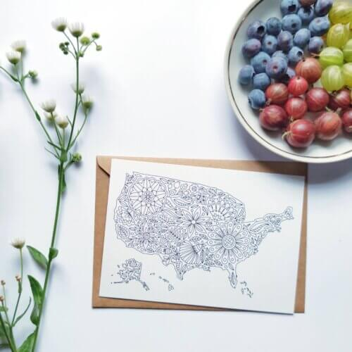 usa map to color in postcard
