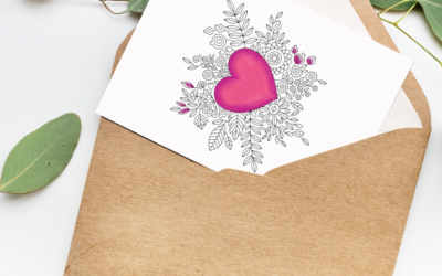 Printable Valentine's Day Card for last minute adult coloring