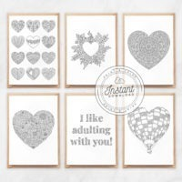Printable Valentine's Day Cards for Adult Coloring, Last Minute Gift Idea