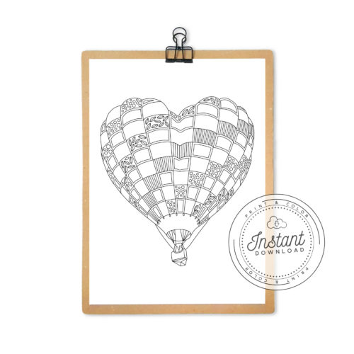 Hot Air Balloon Coloring Page Romantic Heart Printable Digital Download