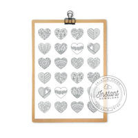 Printable Hearts Pattern Coloring Page for Adults Pretty Coloring Book Digital Download