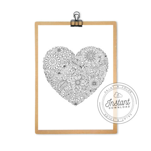 Printable Download Flowers Heart Adult Coloring Page