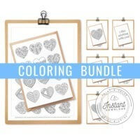 printable heart greeting cards for adult coloring bundle set of 6