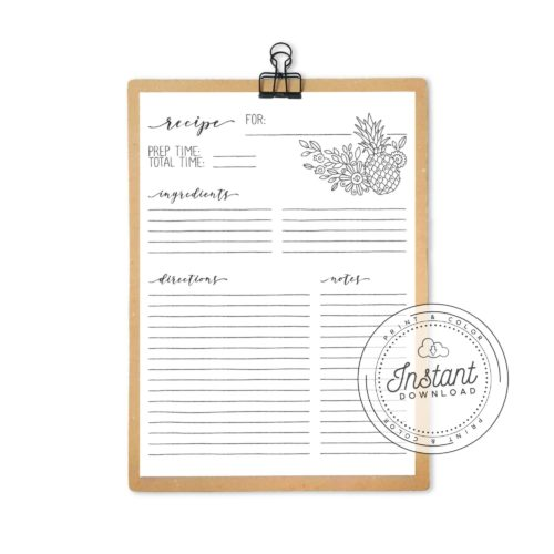 Recipe Book Printable Interior Inserts for Recipe Binder DIY Recipe Book Journal Pineapple