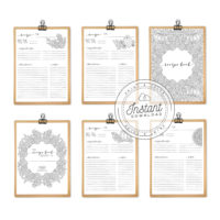 Recipe Book Printable Interior Inserts for Recipe Binder DIY Recipe Book Journal