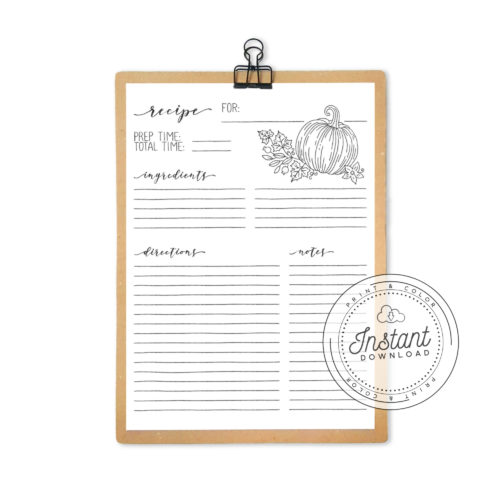 Recipe Book Printable Interior Inserts for Recipe Binder DIY Recipe Book Journal Pumpkin