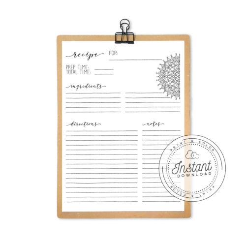 Recipe Book Printable Interior Inserts for Recipe Binder DIY Recipe Book Journal Mandala