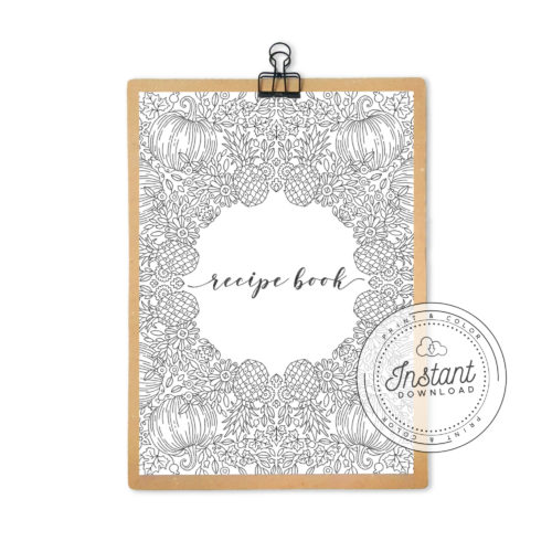 Recipe Book Printable Interior Inserts for Recipe Binder DIY Recipe Book Journal Cover