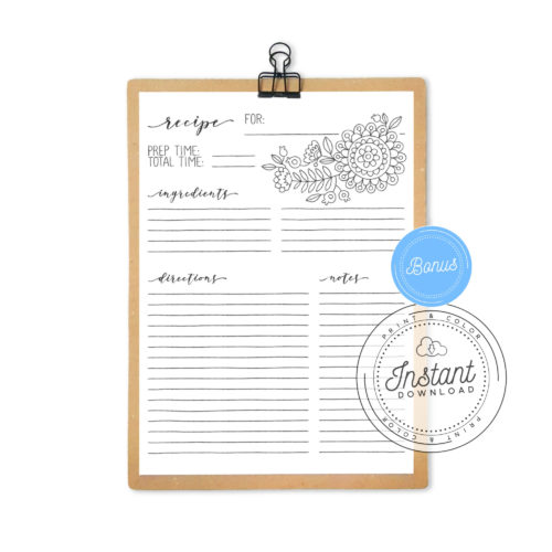 Recipe Book Printable Interior Inserts for Recipe Binder DIY Recipe Book Journal Bonus Page Flowers