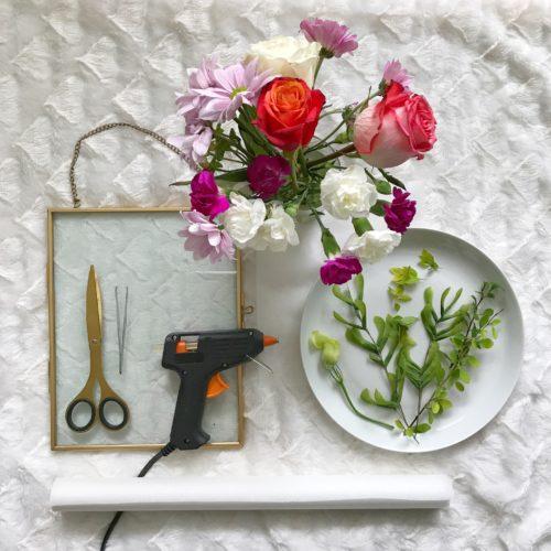 Pressed flowers DIY wall art tutorial supplies floating frame flowers greenery scissors hot glue gun